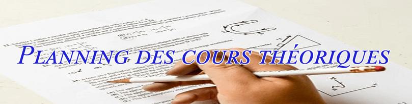 Planning et dates des cours théoriques disponibles